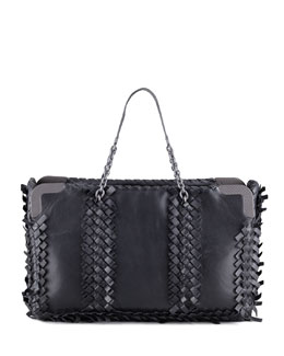 Bottega Veneta Mini Fringe East-West Tote Bag, Black