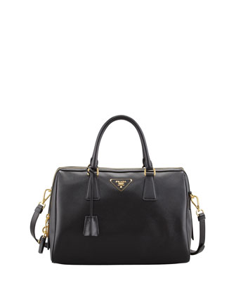 Saffiano Shoulder Strap Bowler Bag, Black