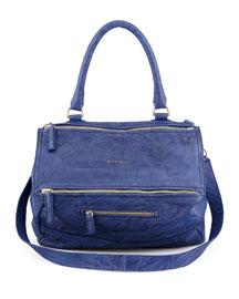 Pandora Medium Lamb Satchel Bag, Royal