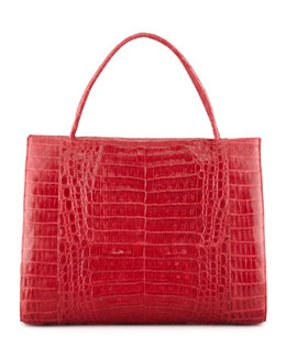 Nancy Gonzalez Double-Handle Framed Croc Tote Bag, Red