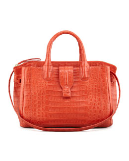 Nancy Gonzalez Cristina Crocodile Shoulder Tote Bag, Orange