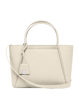 Akris Alexa Medium Business Tote Bag, Off White
