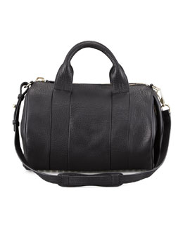 Alexander Wang Rocco Leather Satchel Bag, Black/Pale Gold