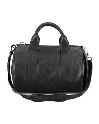 Rocco Leather Satchel Bag, Black/Pale Gold