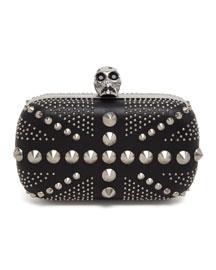 Studded Britannia Classic Skull Clutch Bag, Black