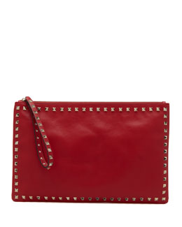 Valentino Rockstud Zip Clutch, Red