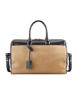 Saint Laurent Classic Two-Tone Duffel Bag, Black/Gold