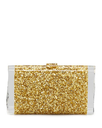Lara Confetti Clutch Bag, Gold