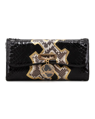 Riviera Python Clutch Bag, Black