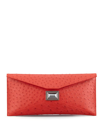 Super Stretch Prunella Ostrich Clutch Bag, Red