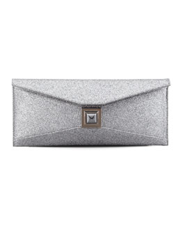 Kara Ross Stretch Prunella Glitter Clutch Bag, Silver