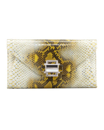 Electra Medium Python Clutch, Yellow