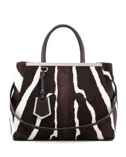 Fendi 2Jours Medium Zebra-Print Calf Hair Tote Bag