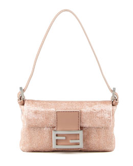 Fendi Glass-Beaded Silk Baguette, Pink