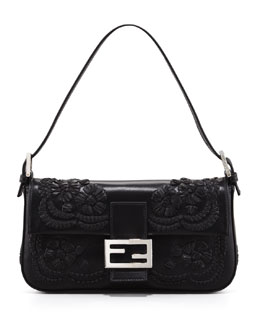 Fendi Embroidered Leather Baguette Shoulder Bag, Black