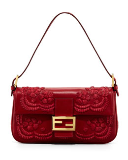 Fendi Embroidered Leather Baguette Shoulder Bag, Burgundy