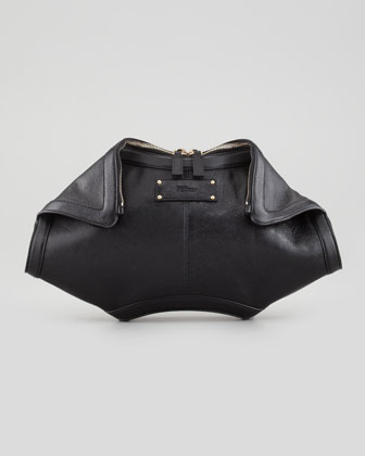De-Manta Leather Clutch Bag, Black