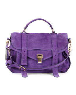 Proenza Schouler PS1 Suede Medium Satchel Bag, Purple