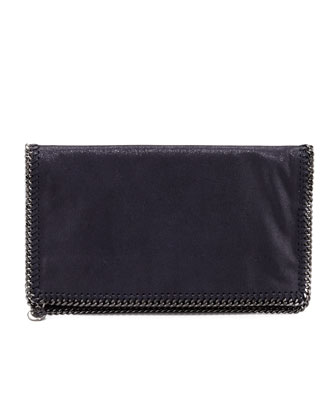 Faux Leather Falabella Fold-Over Clutch Bag, Navy