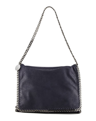 Falabella Large Flap Shoulder Bag, Navy