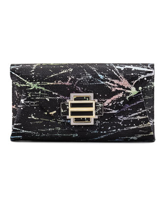 Electra Splatter Lizard Clutch Bag, Multicolor