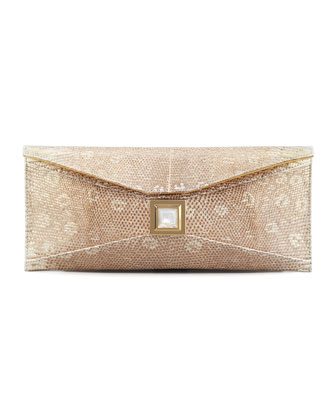 Prunella Stretch Lizard Clutch Bag, Gold