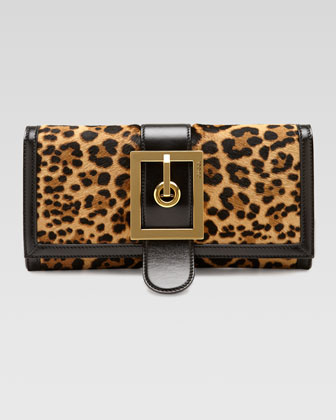Lady Buckle Leopard-Print Clutch