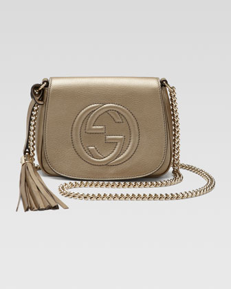 Soho Metallic Leather Chain Crossbody Bag, Champagne