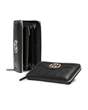 Sukey Guccissima Leather Zip Around Wallet, Black