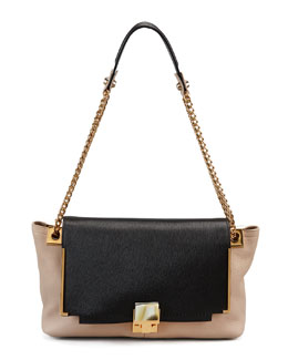 Lanvin Partition Leather Shoulder Bag, Black/Beige