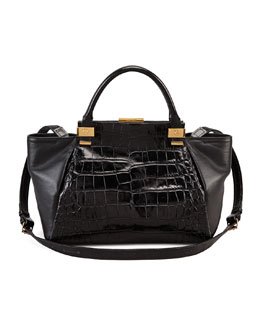 Lanvin Trilogy Calfskin Medium Tote Bag, Black