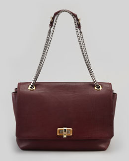 Lanvin Happy Large Shoulder Bag, Plum