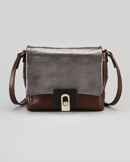 Lanvin For Me Lizard-Embossed Crossbody Bag, Gray/Brown