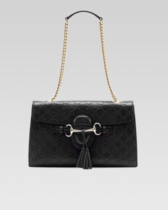 Emily Guccissima Leather Chain Shoulder Bag, Black