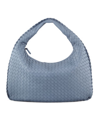 Intrecciato Medium Hobo Bag, Blue
