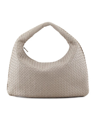 Intrecciato Large Hobo Bag, Gray