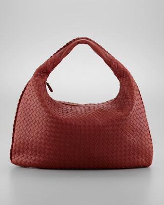 Intrecciato Woven Large Hobo Bag, Dark Red