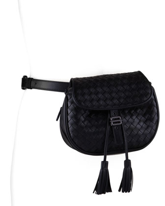 Intrecciato Small Belt Bag, Black