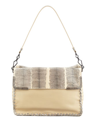 Medium Snake & Lambskin Shoulder Bag, White
