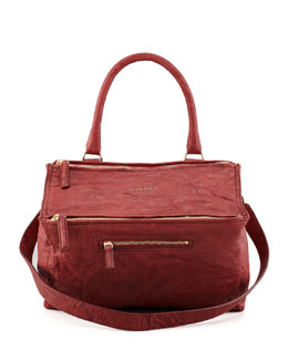 Givenchy Pandora Medium Old Pepe Satchel Bag, Burgundy