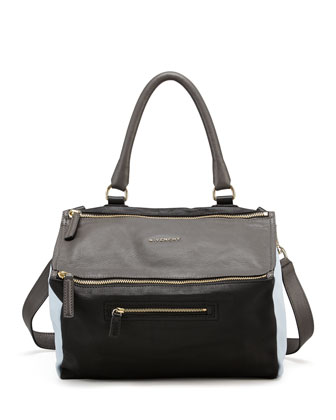 Pandora Medium Colorblock Satchel Bag, Gray