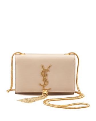Cassandre Small Tassel Crossbody Bag, Off White