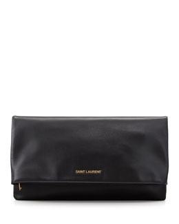 Saint Laurent Letters Large Fold-Over Clutch Bag, Black