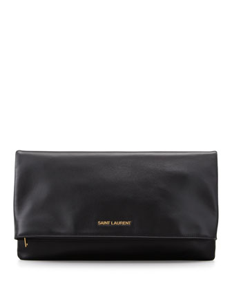 Letters Large Fold-Over Clutch Bag, Black