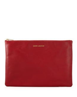 Saint Laurent Letters Medium Zip Clutch Bag, Red