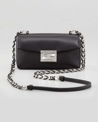 Mini Be Leather Crossbody Baguette, Black