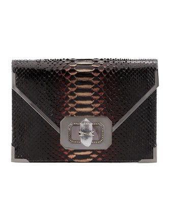 Valentina Large Python Envelope Clutch Bag, Multi