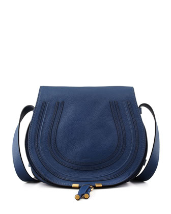 Marcie Leather Satchel Bag, Navy