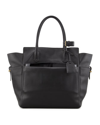 Atlantique Tote Bag with Patent Pouch, Black