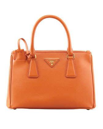 Mini Saffiano Lux Tote Bag, (Orange) Papaya